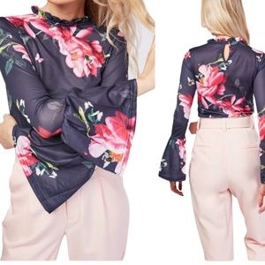 Floral Printed Bell Sleeve Blouse Blue/Pink Size 6